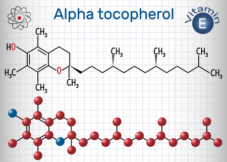 Alpha tocopherol ( vitamin E) molecule. Structural chemical formula and molecule model. Sheet of paper in a cage. Vector illustration