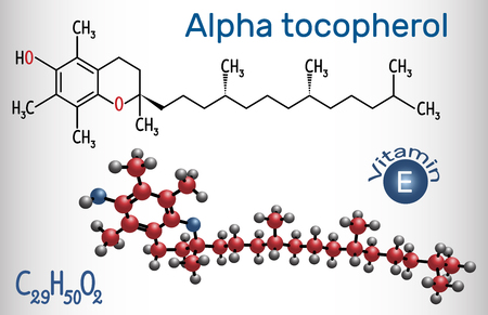 Alpha tocopherol ( vitamin E) molecule. Structural chemical formula and molecule model. Vector illustration
