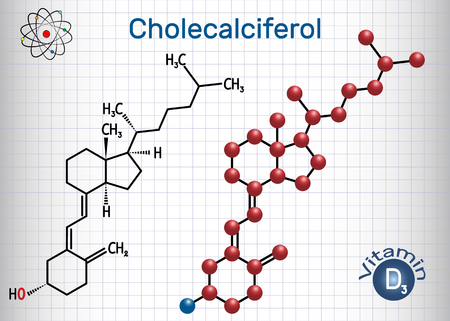 Cholecalciferol ( colecalciferol, vitamin D3) molecule. Structural chemical formula and molecule model. Sheet of paper in a cage. Vector illustration