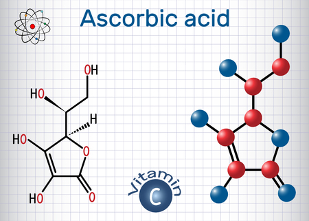 Ascorbic acid (vitamin C). Structural chemical formula and molecule model. Sheet of paper in a cage. Vector illustration