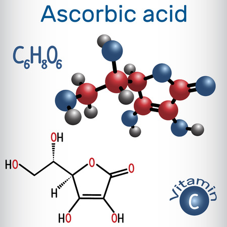 Ascorbic acid (vitamin C). Structural chemical formula and molecule model. Vector illustration