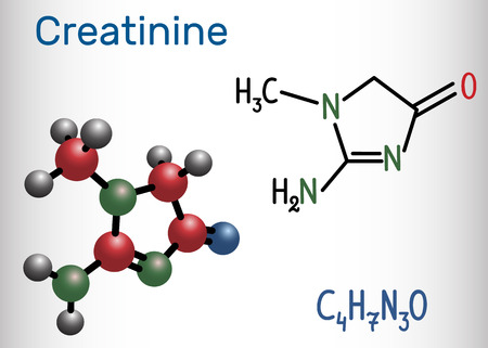 Creatinine molecule. Structural chemical formula and molecule model. Vector illustration Standard-Bild - 114682925