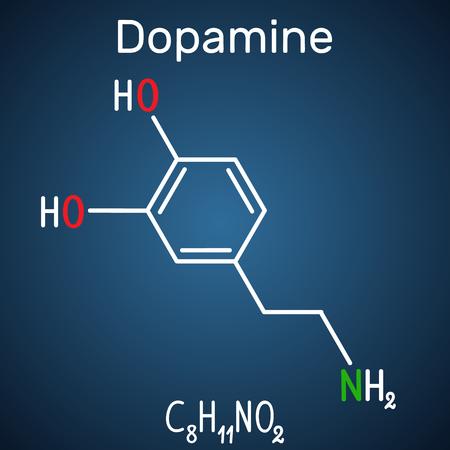 Dopamine ( DA) molecule. Structural chemical formula and molecule model on the dark blue background. Vector illustration Stock Illustratie