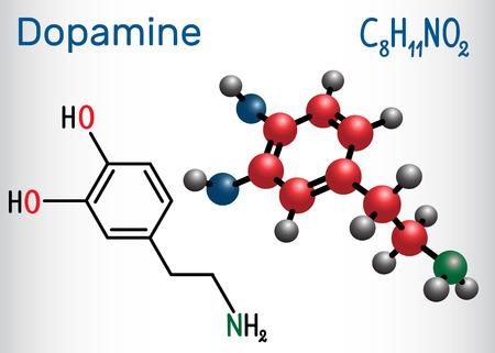 Dopamine ( DA) molecule. Structural chemical formula and molecule model. Vector illustration