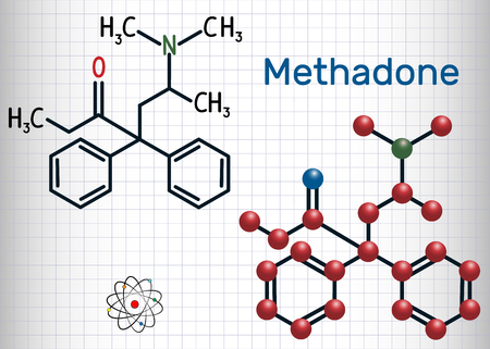 Methadone molecule. Structural chemical formula and molecule model. Sheet of paper in a cage.Vector illustration