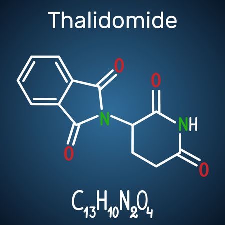 Thalidomide molecule. Is used as a treatment of multiple myeloma and of leprosy. Structural chemical formula and molecule model on the dark blue background. Vector illustration