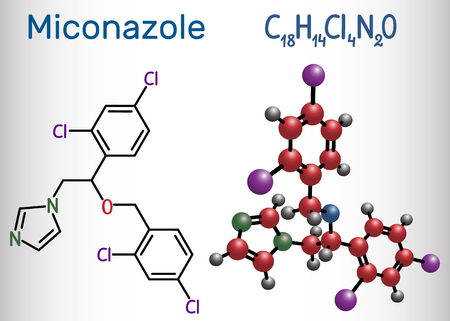 Miconazole molecule. It is an antifungal medication used to treat ring worm, pityriasis versicolor, yeast infections. Structural chemical formula. Vector illustration