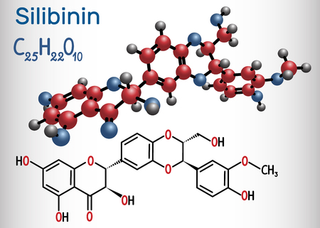 Silibinin ( silybin) molecule.  Structural chemical formula. Vector illustration
