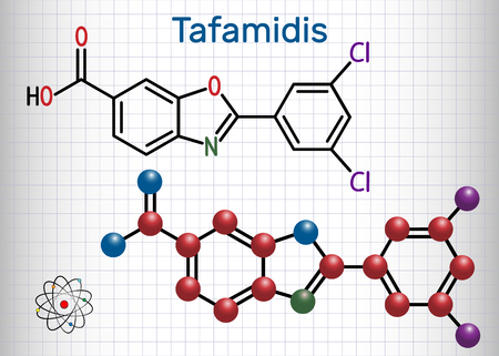 Tafamidis molecule. Sheet of paper in a cage. Structural chemical formula and molecule model. Vector illustration 向量圖像