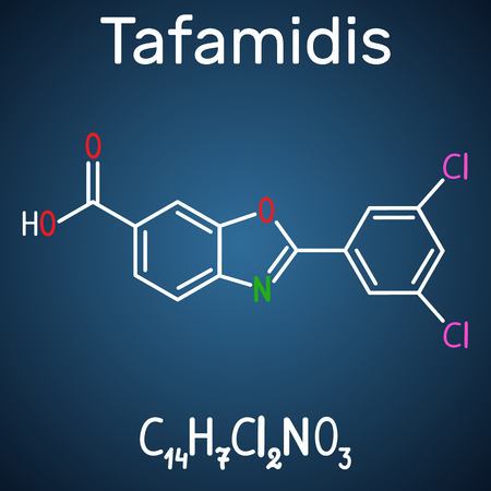 Tafamidis molecule. Structural chemical formula and molecule model on the dark blue background. Vector illustration 向量圖像
