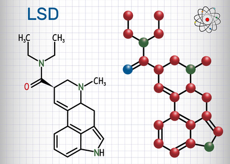 Lysergic acid diethylamide (LSD). It is a hallucinogenic drug. Structural chemical formula and molecule model.  Sheet of paper in a cage. Vector illustration