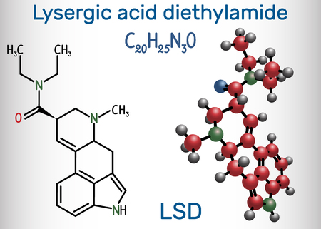 Lysergic acid diethylamide (LSD). It is a hallucinogenic drug. Structural chemical formula and molecule model. Vector illustration