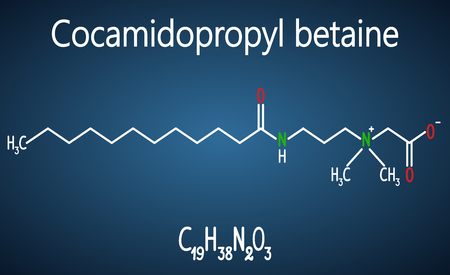Cocamidopropyl betaine (CAPB) molecule. Structural chemical formula and molecule model on the dark blue background, white. Vector illustration Illustration