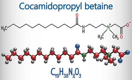Cocamidopropyl betaine (CAPB) molecule. It is used in shampoo, in cosmetics, as antistatic in hair conditioner. Structural chemical formula and molecule model. Vector illustration