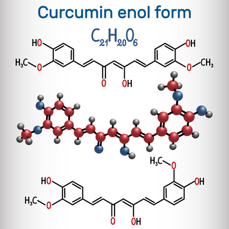 Curcumin molecule. Enol form. It is used as an herbal supplement, cosmetics ingredient, food flavoring, food coloring.  Structural chemical formula. Vector illustration