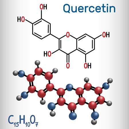 Quercetin ( flavonoid) molecule. Structural chemical formula and molecule model. Vector illustration