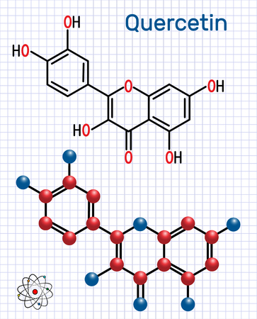 Quercetin ( flavonoid) molecule. Structural chemical formula and molecule model. Sheet of paper in a cage. Vector illustration