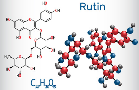 Rutin molecule (vitamin P). Structural chemical formula and molecule model. Vector illustration