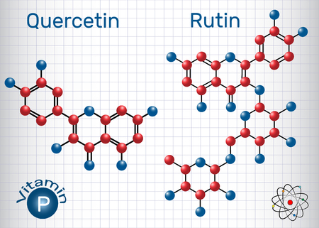 Quercetin, rutin molecule (vitamin P). Structural chemical formula. Sheet of paper in a cage.Vector illustration 向量圖像