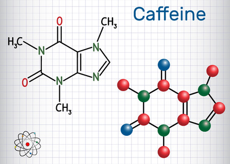 Caffeine molecule. Structural chemical formula and molecule model. Sheet of paper in a cage. Vector illustration