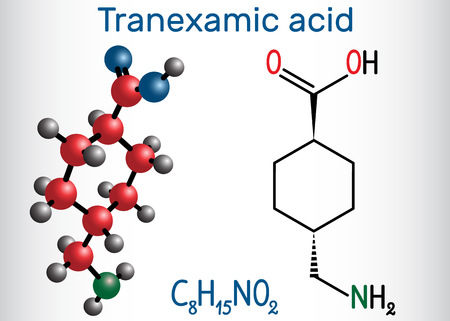 Tranexamic acid (TXA) drug molecule, is used for preventing excessive bleeding. Structural chemical formula and molecule model. Vector illustration