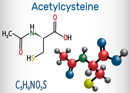 Acetylcysteine (N-acetylcysteine, NAC) drug molecule. Structural chemical formula and molecule model. Vector illustration