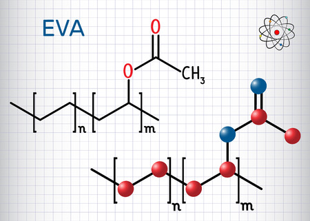 Ethylene-vinyl acetate (EVA). It is is the copolymer of ethylene and vinyl acetate. Sheet of paper in a cage. Vector illustration Illustration