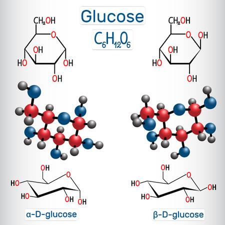 Molécula de molécula de azúcar de uva glucosa (dextrosa, D-glucosa). Alfa-glucosa y beta-glucosa. Fórmula química estructural y modelo de molécula. Ilustración vectorial