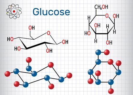 Molécule de glucose (dextrose, D-glucose). Feuille de papier dans une cage. Formule chimique structurale et modèle de molécule. Illustration vectorielle