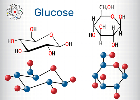 Glucose (dextrose, D-glucose) molecule. Sheet of paper in a cage. Structural chemical formula and molecule model. Vector illustration