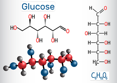 Glucose (dextrose, D-glucose) molecule. Linear form. Structural chemical formula and molecule model. Vector illustration