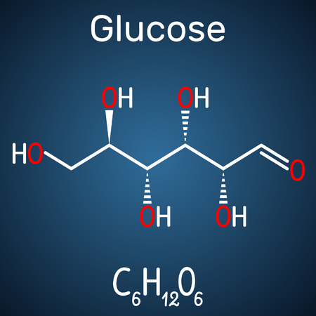 Glucose (dextrose, D-glucose) molecule. Linear form. Structural chemical formula on the dark blue background. Vector illustration Illustration