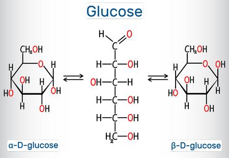 Glukose (Dextrose, D-Glucose) Molekül. Zyklische und azyklische Formen. Strukturelle chemische Formel und Molekülmodell. Vektor-Illustration Vektorgrafik