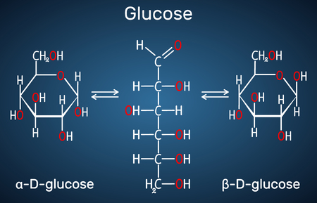 Glucose (dextrose, D-glucose) molecule. Ð¡yclic and acyclic forms. Structural chemical formula on the dark blue background. Vector illustration