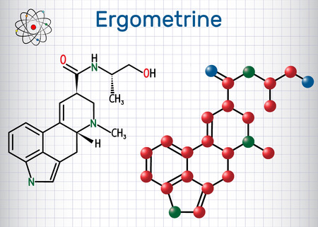 Ergometrine drug molecule. Sheet of paper in a cage. Structural chemical formula and molecule model. Vector illustration