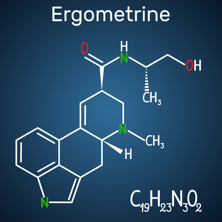 Ergometrine drug molecule. Structural chemical formula on the dark blue background. Vector illustration Illustration