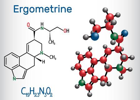 Ergometrine drug molecule. Structural chemical formula and molecule model. Vector illustration Stock Vector - 124098171