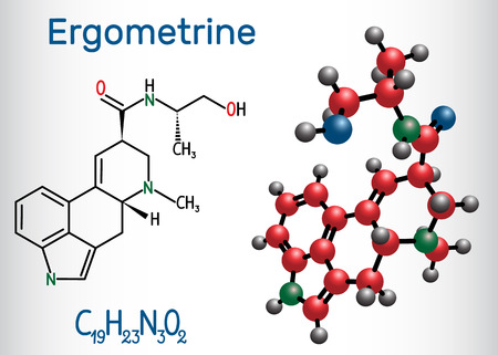 Ergometrine drug molecule. Structural chemical formula and molecule model. Vector illustration