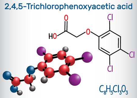 2,4,5-Trichlorophenoxyacetic acid (2,4,5-T) molecule. Structural chemical formula and molecule model. Vector illustration Illustration