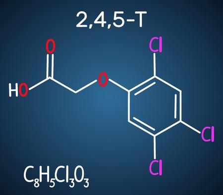 2,4,5-Trichlorophenoxyacetic acid (2,4,5-T) molecule. Structural chemical formula on the dark blue background. Vector illustration