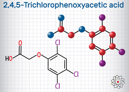 2,4,5-Trichlorophenoxyacetic acid (2,4,5-T) molecule. Sheet of paper in a cage. Structural chemical formula and molecule model. Vector illustration Stock Illustratie
