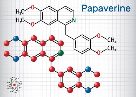 Papaverine molecule. It is opium alkaloid antispasmodic drug. Structural chemical formula and molecule model. Sheet of paper in a cage. Vector illustration Illustration
