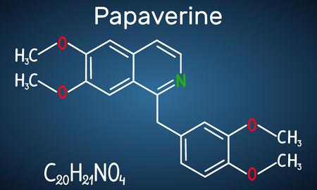 Papaverine molecule. It is opium alkaloid antispasmodic drug. Structural chemical formula on the dark blue background. Vector illustration
