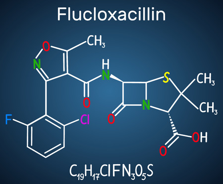 Flucloxacillin (floxacillin) molecule. It is beta-lactam antibiotic of the penicillin class. Structural chemical formula on the dark blue background. Vector illustration