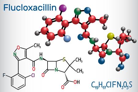 Flucloxacillin (floxacillin) molecule. It is beta-lactam antibiotic of the penicillin class. Structural chemical formula and molecule model. Vector illustration Illustration