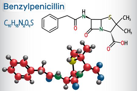 Benzylpenicillin (penicillin G) drug molecule. It is beta-lactam antibiotic. Structural chemical formula and molecule model. Vector illustration