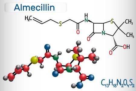Almecillin (penicillin O) drug molecule. It is beta-lactam antibiotic. Structural chemical formula and molecule model. Vector illustration