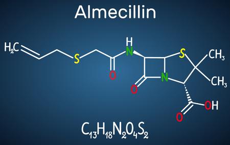 Almecillin (penicillin O) drug molecule. It is beta-lactam antibiotic. Structural chemical formula on the dark blue background. Vector illustration