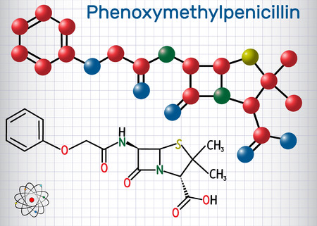 Phenoxymethylpenicillin (penicillin V) antibiotic drug molecule. Structural chemical formula and molecule model. Sheet of paper in a cage.Vector illustration