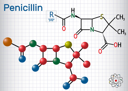 General formula of penicillin (PCN) molecule. It is a group of antibiotics. Sheet of paper in a cage. Structural chemical formula and molecule model. Vector illustration Illustration